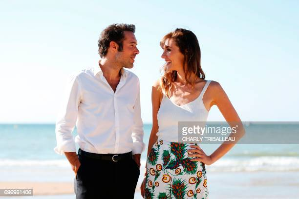 French theatre director actor and comedian Nicolas Bedos and French actress Doria Tillier pose during a photocall for the Cabourg Romantic Film...