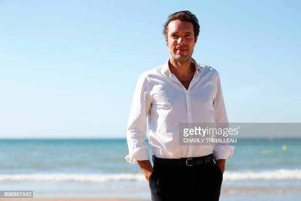 French theatre director actor and comedian Nicolas Bedos poses during a photocall for the Cabourg Romantic Film Festival in Cabourg northwestern...