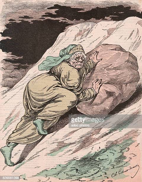 French Third Republic Personification of Europe continent caricatured as Sisyphus Caricature by GilbertMartin published in the magazine Le Don...