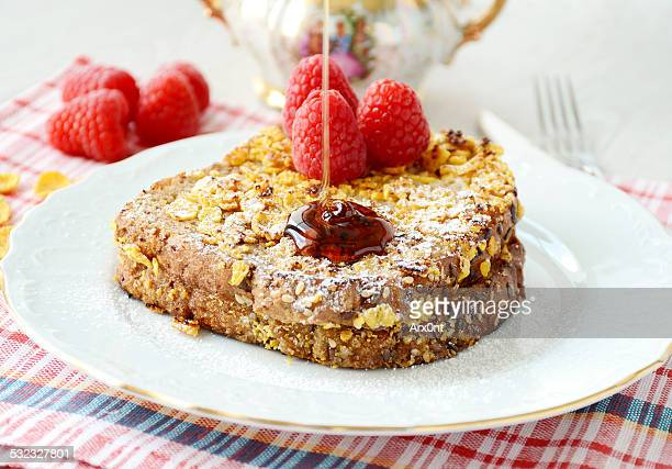 French toast with cornflakes and raspberries
