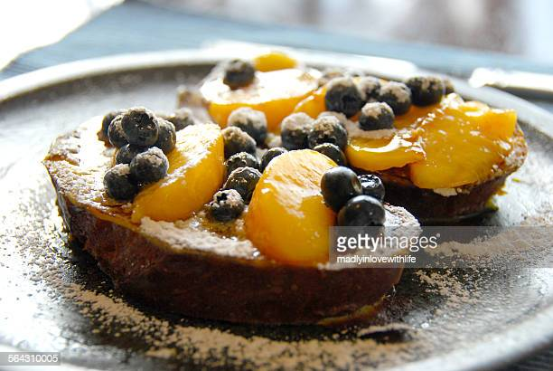 French Toast with Fresh Peaches and Blueberries