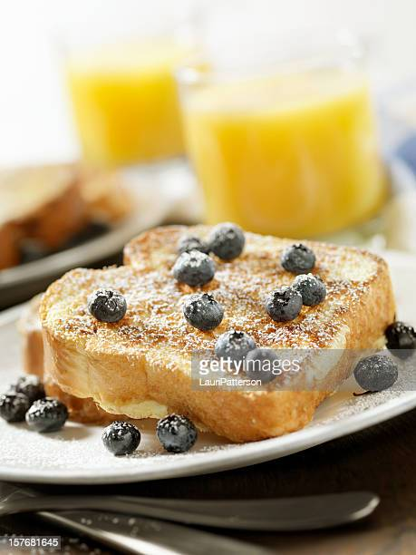 French Toast with Powdered Sugar and Blueberries