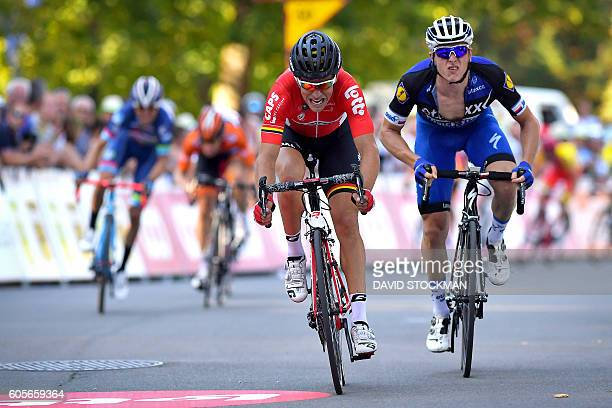 French Tony Gallopin of Lotto Soudal crosses the finish line to win before Czech Petr Vakoc of team Etixx Quick Step the 56th edition of the Grand...