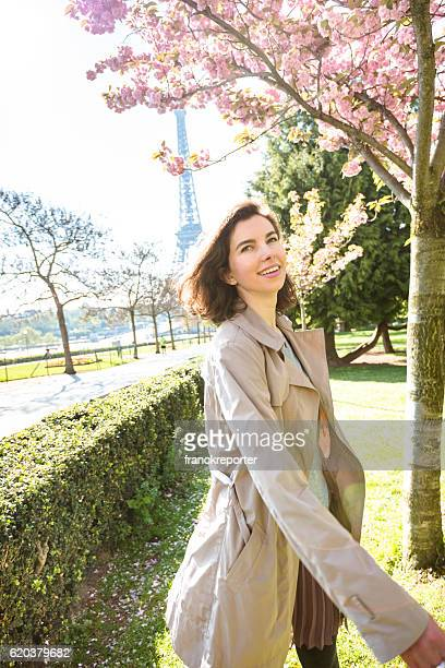 french tourist woman in paris for spring