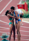 Olympic Games Atlanta USA Women's 400 Metres Final France's gold medal winner MarieJose Perec is congratulated by Australian silver medallist Cathy...