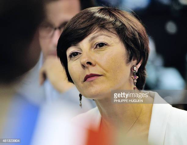 French Trade and Handicraft Junior Minister Carole Delga listens as she visits a trade center on June 27 in FachesThumesnil northern France HUGUEN