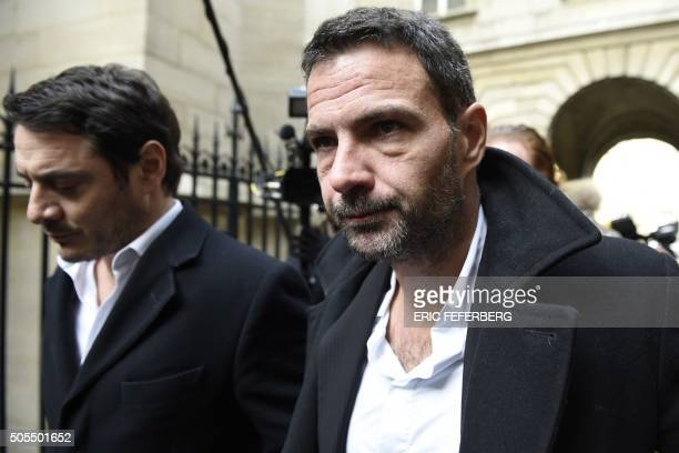 TOPSHOT French trader Jerome Kerviel flanked by his lawyer David Koubbi arrives in the courthouse of Paris on January 18 to ask for his case to be...