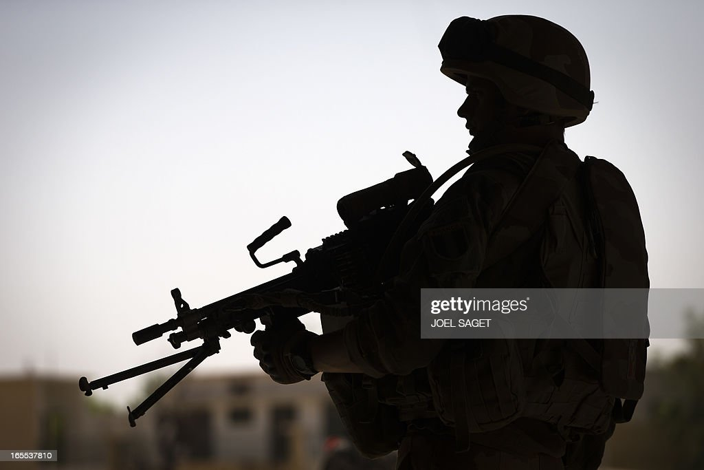 French troops at Gao's port near the Niger river on April 4, 2013. The United Nations expressed concern over reprisal attacks against ethnic Tuaregs and Arabs in Mali, where a French-led intervention recently routed Islamist rebels. AFP PHOTO / JOEL SAGET