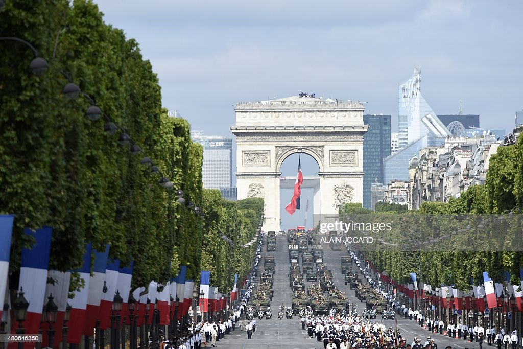 French troops march down the Champs Elysees during the annual Bastille Day military parade in Paris on July 14 2015 AFP PHOTO / ALAIN JOCARD