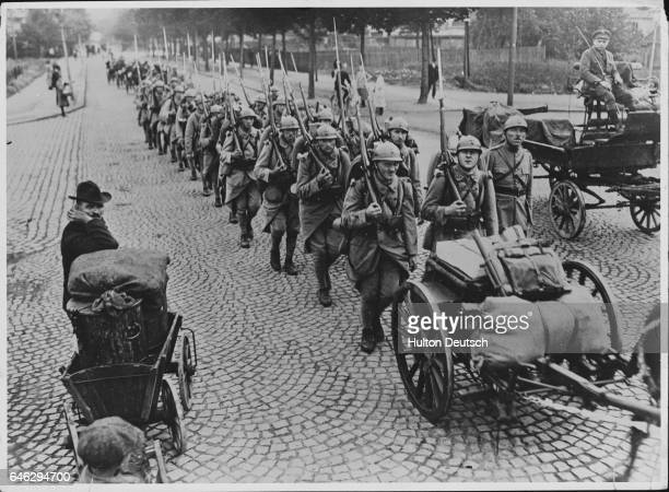 French Troops Marching Into Essen In 1918