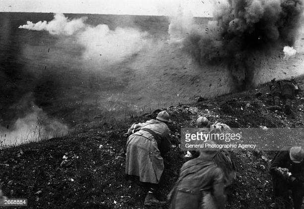 French troops under shellfire during the Battle of Verdun
