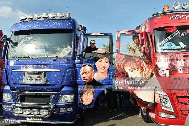 French truck driver Christophe Reiter inhis MAN 540 Hp painted as a tribute to various French singers and French truck driver Christophe Huard in his...