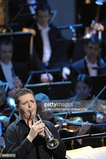 French trumpet player Romain Leleu performs after receiving the 'Best instrumental soloist of the year' award during the 16th Victoires de la Musique...