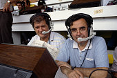 French TV commentators Bernard Pere and Bernard Pivot during the 1986 FIFA World Cup