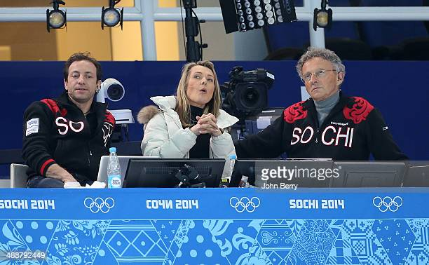 French TV commentators Philippe Candeloro Annick Dumont and Nelson Monfort attend the Figure Skating Pairs Short Program on day 4 of the Sochi 2014...
