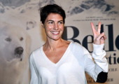 French TV host Alessandra Sublet poses before the presentation of the movie 'Belle and Sébastien' of French film director Nicolas Vanier on November...