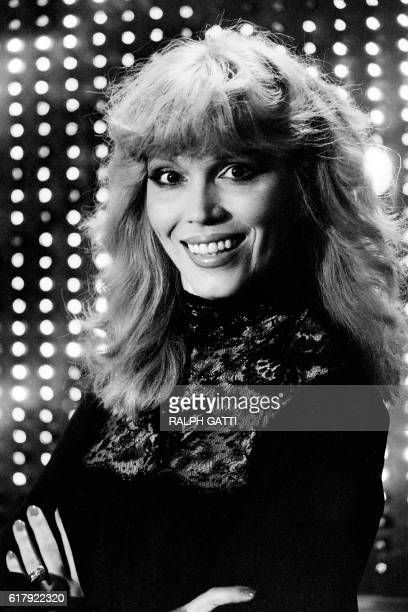 French TV host Amanda Lear poses on the set of the French and Italian TV shows on October 20 in Cannes / AFP / Ralph Gatti