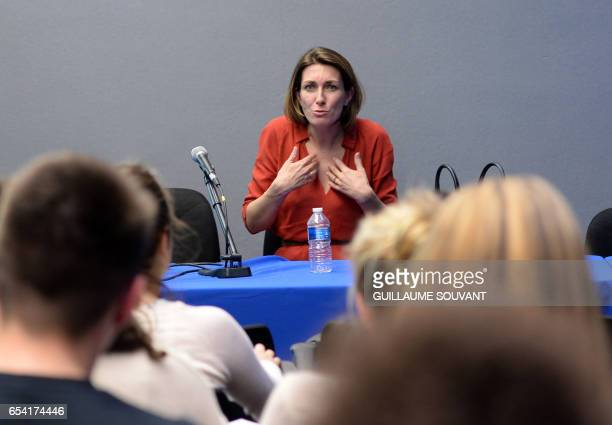 French TV host and journalist AnneClaire Coudray adresses students during the 10th international conference on journalism on March 16 2017 in Tours...