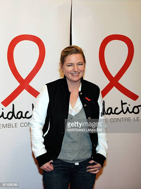 French TV host AnneElisabeth Lemoine poses as she arrives on March 3 2010 in Paris at the start of the 16th edition of French Sidaction an AIDS...