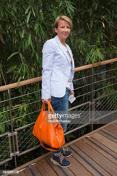 French TV host Ariane Massenet attends the Roland Garros French Tennis Open 2014 Day 6 at Roland Garros on May 30 2014 in Paris France