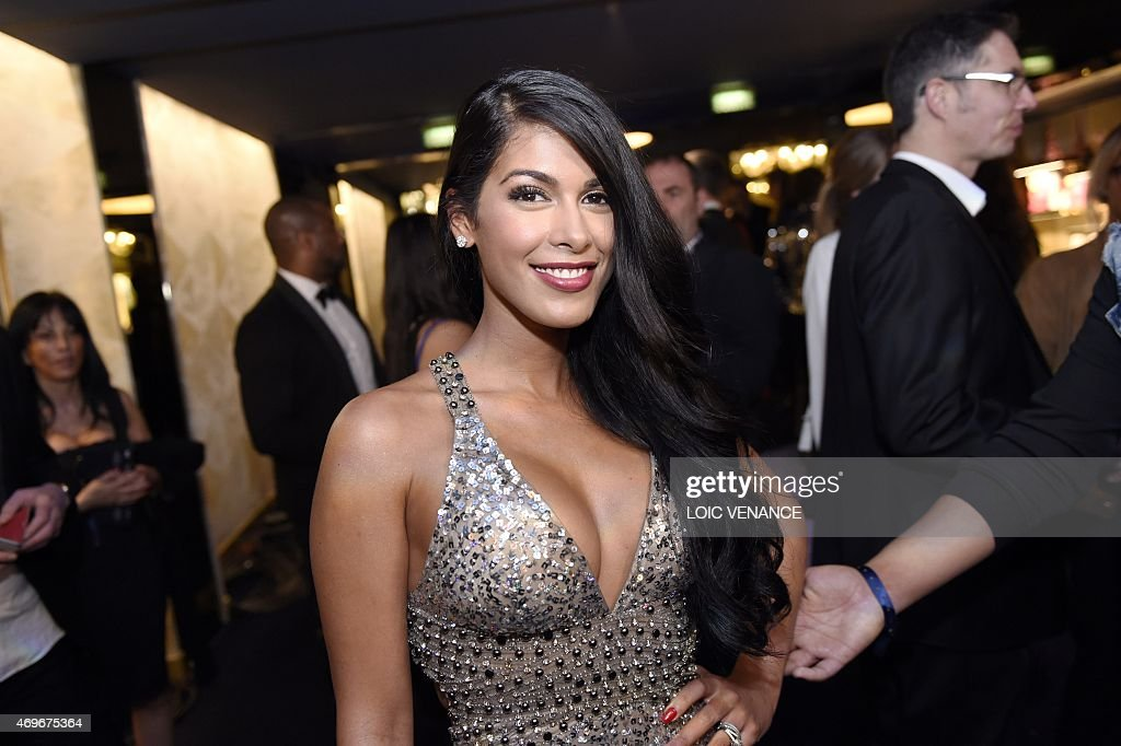 French tv host <a gi-track='captionPersonalityLinkClicked' href=/galleries/search?phrase=Ayem+Nour&family=editorial&specificpeople=8920076 ng-click='$event.stopPropagation()'>Ayem Nour</a> poses as she arrives for the 10th edition of the Globes de Cristal award ceremony (arts and culture) in Paris on April 13, 2015.