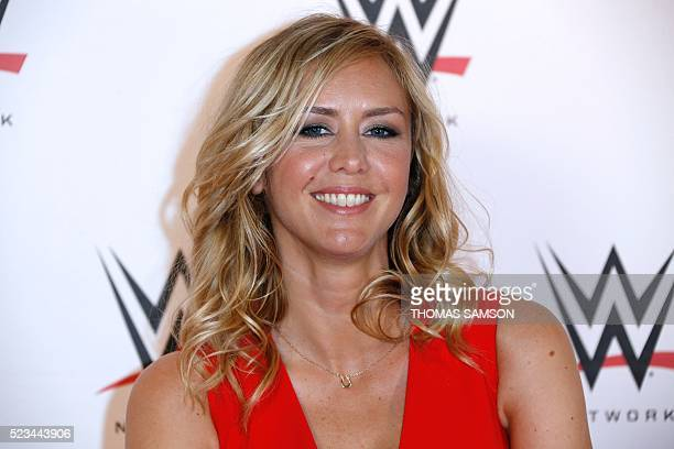 French TV host Enora Malagre poses before attending a show at the AccorHotels Arena in Paris as part of the WrestleMania Revenge Tour the World...