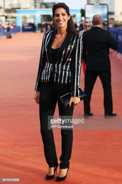 French TV host Laurie Cholewa poses on the red carpet before the closing ceremony of the 43rd Deauville US Film Festival on September 9 2017 in the...
