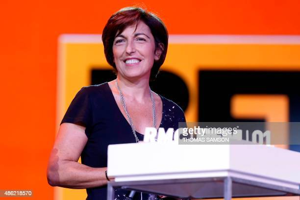 French TV host Ruth Elkrief delivers a speech during the NextRadioTV group press conference in Paris on September 2 2015 NextRadioTV is a French...