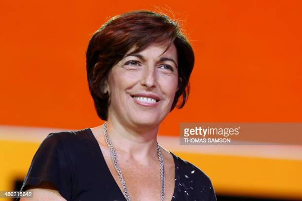 French TV host Ruth Elkrief takes part in the NextRadioTV group press conference in Paris on September 2 2015 NextRadioTV is a French company...
