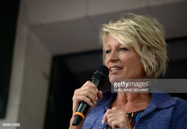 French tv host Sophie Davant speaks during the 22th La Foret Des Livres book fair on August 27 2017 in ChanceauxpresLoches central France La Foret...