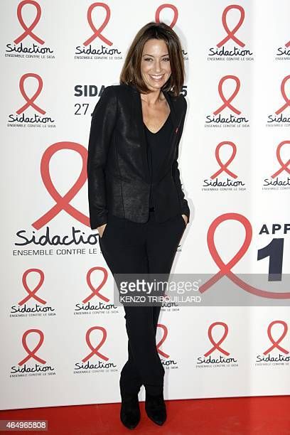 French TV host Virginie Guilhaume poses on March 2 2015 upon her arrival for the annual Sidaction fundraiser to finance HIVAIDS research in Paris AFP...