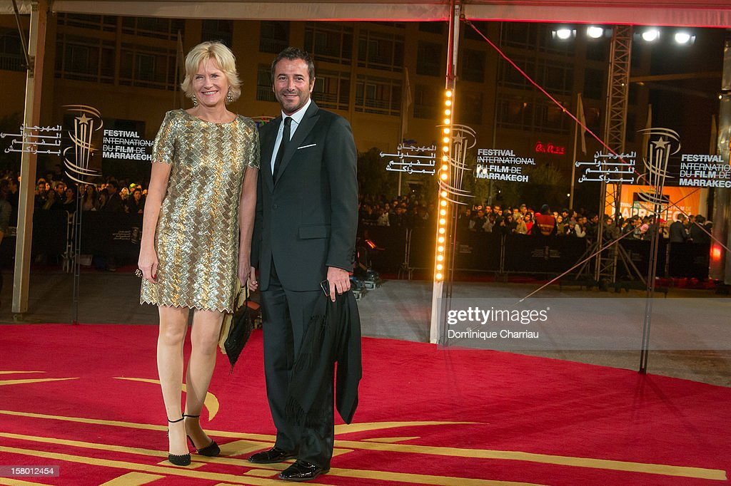 French TV personalites Catherine Ceylac and Bernard Montiel arrives to the awrard ceremony of the 12th International Marrakech Film Festival on December 8, 2012 in Marrakech, Morocco.
