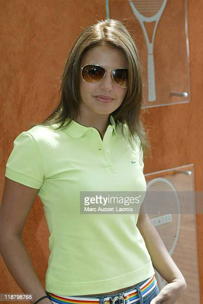 French tv presentator Severine Ferrer poses at the 'Village' during the 8th day of French Open Tennis tournament held at Roland Garros stadium in...