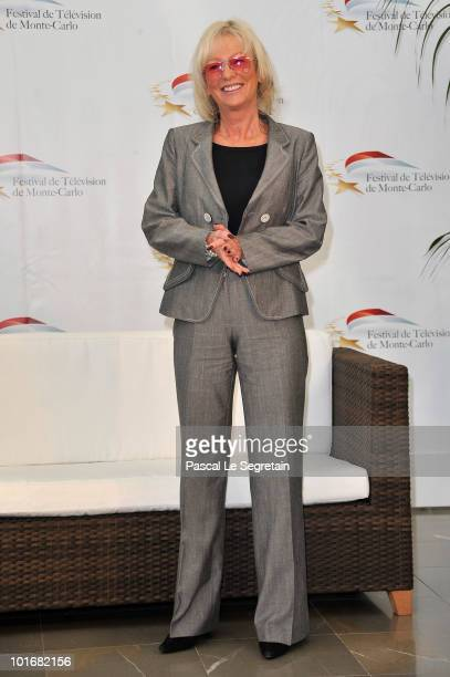 French TV presenter Evelyne Leclercq poses at a photocall for the French TV show 'Tournez Manege' during the 2010 Monte Carlo Television Festival...