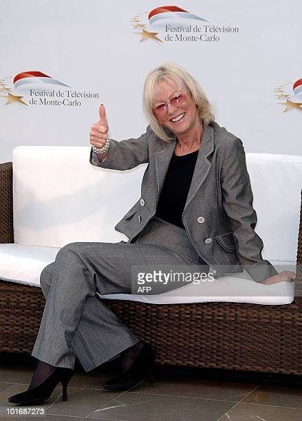 French TV presenter Evelyne Leclercq poses at a photocall for the French TV program 'Tournez Manege' during the 2010 Monte Carlo Television Festival...