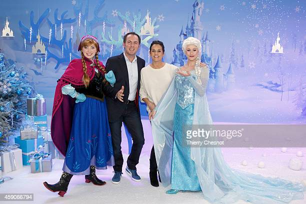 French TV presenter JeanPhilippe Doux and Faustine Bollaert attend the Christmas season launch at Disneyland Paris on November 15 2014 in Paris France