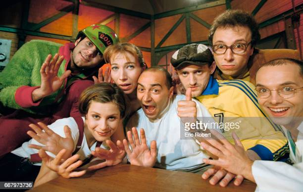 French TV presenter Patrick Bosso host of the television show La Grosse emission poses with the comedy troupe Les Robins des Bois PierreFrancois...