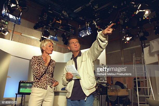 French TV presenter Sophie Davant with her producer William Leymergie