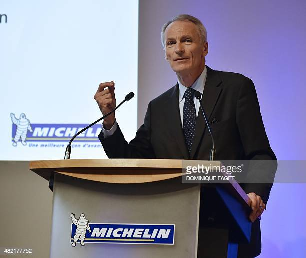 French tyre maker Michelin's Chief Executive Officer JeanDominique Senard holds a press conference to present the group's results for the first half...