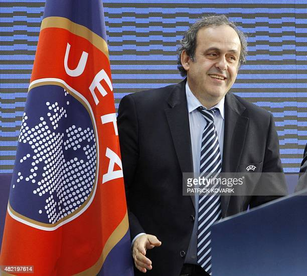 French UEFA president Michel Platini speaks during press a conference on March 22 2011 in Paris as part of the 35 edition of the UEFA convention...