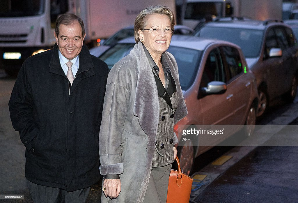French UMP opposition right-wing party members Michele Alliot-Marie and Patrick Ollier (L) arrive at a meeting of the political committee at the UMP headquarters on December 19, 2012 in Paris. UMP President Jean-Francois Cope and former Prime Minister Francois Fillon, the rivals in the leadership row which split French former ruling party, the UMP, agreed on December 17, 2012 to a new internal election after a bitterly-contested first vote last month.