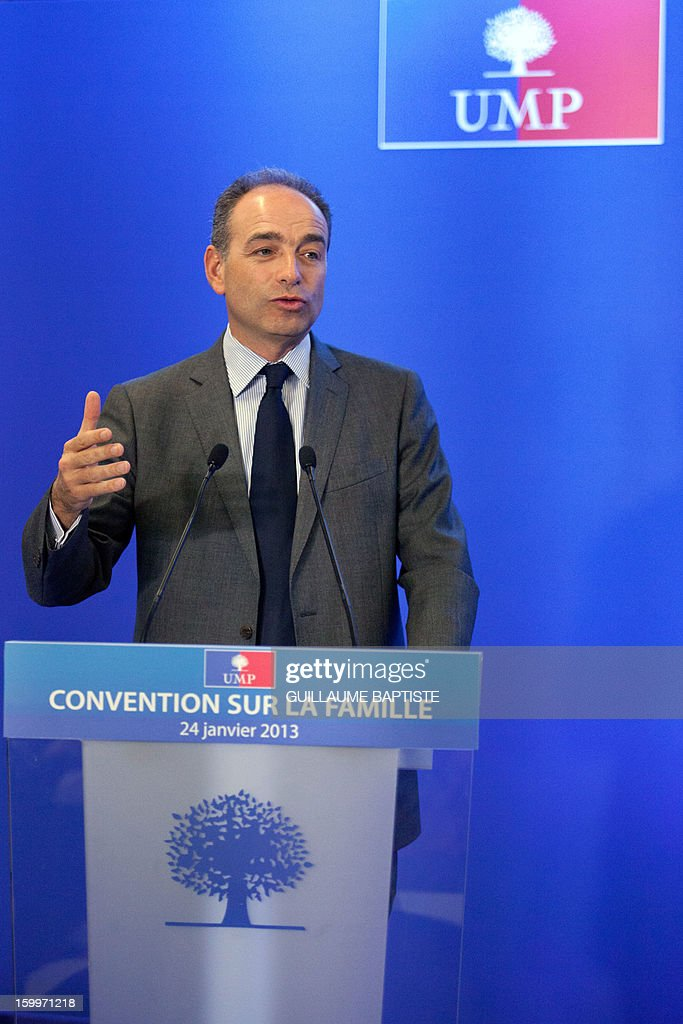 French UMP opposition right-wing party President Jean-Francois Cope delivers a speech on January 24, 2013 at the party headquarters in Paris, as he takes part in a convention focused on family matters.