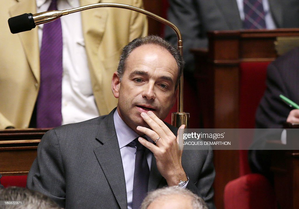 French UMP opposition right-wing party President Jean-Francois Cope attends a weekly session of questions to the government on January 29, 2013 at the National Assembly in Paris.