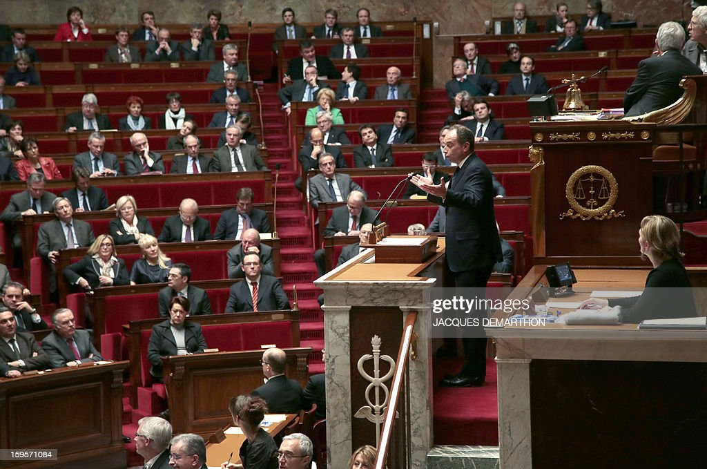 French UMP opposition right-wing party president Jean-Francois Cope (C) speaks at the National Assembly in Paris on January 16, 2013. Ayrault today praised France's military intervention in troubled Mali, acknowledging the 'spitirt of responsibilty' displayed by all the political forces.