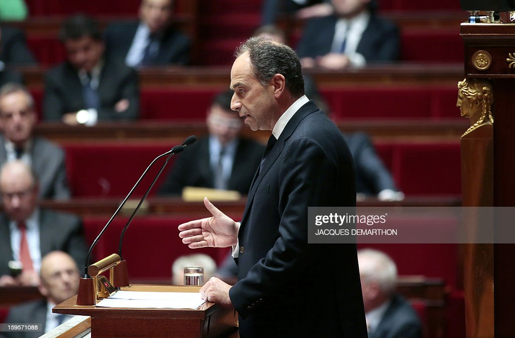 French UMP opposition right-wing party president Jean-Francois Cope speaks at the National Assembly in Paris on January 16, 2013. French Prime Minister Jean-Marc Ayrault today praised France's military intervention in troubled Mali, acknowledging the 'spitirt of responsibilty' displayed by all the political forces.