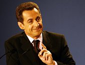 French UMP presidential candidate Nicolas Sarkozy attends a press conference on international politics held in Paris
