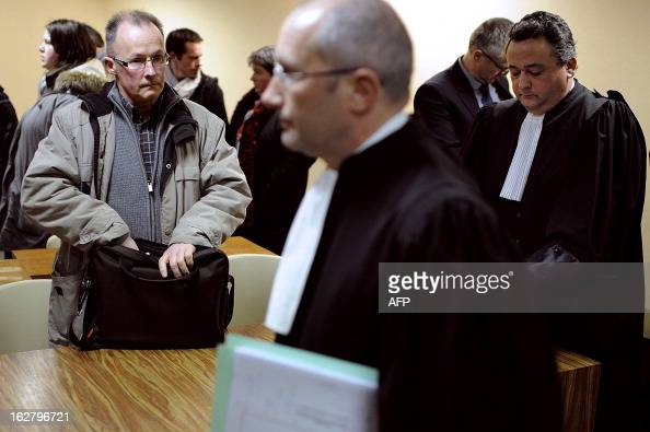 French unions representative of the Gad SAS agribusiness company's pigslaughterhouse Patrick Piguel arrives for an audience at the trade tribunal on...