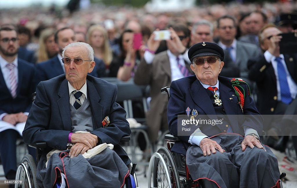 French veterans during the Commemoration of the Centenary of the Battle of the Somme at the Commonwealth War Graves Commission Thiepval Memorial on July 1, 2016 in Thiepval, France. The event is part of the Commemoration of the Centenary of the Battle of the Somme at the Commonwealth War Graves Commission Thiepval Memorial in Thiepval, France, where 70,000 British and Commonwealth soldiers with no known grave are commemorated.
