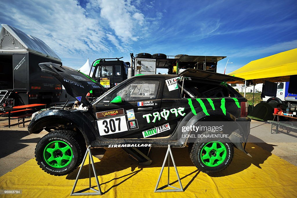 French Vincent Demonceaux's car is seen in the bivouac in Agadir, Morocco, during a rest day of the second edition of the Africa Eco Race, on Juanuary 3, 2010. The Africa Eco Race started on December 30, 2009 in Nador, Morocco, and continues over 11 days and 6,000 kilometres through Mauritania to lac Rose in Senegal.