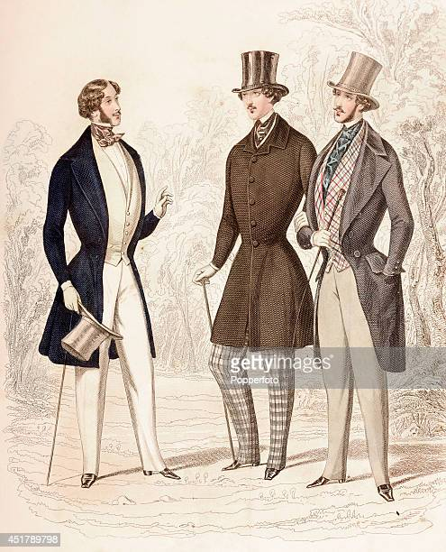 A French vintage fashion illustration featuring three stylish gentlemen wearing coats waistcoats and cravats and sporting walking sticks and top hats...